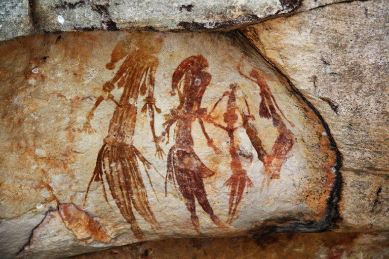 Skalné maľby Bradshaw v oblasti Kimberley v západnej Austrálii
